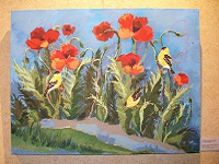 Goldfinch in the Poppies by Cheryl Berglund