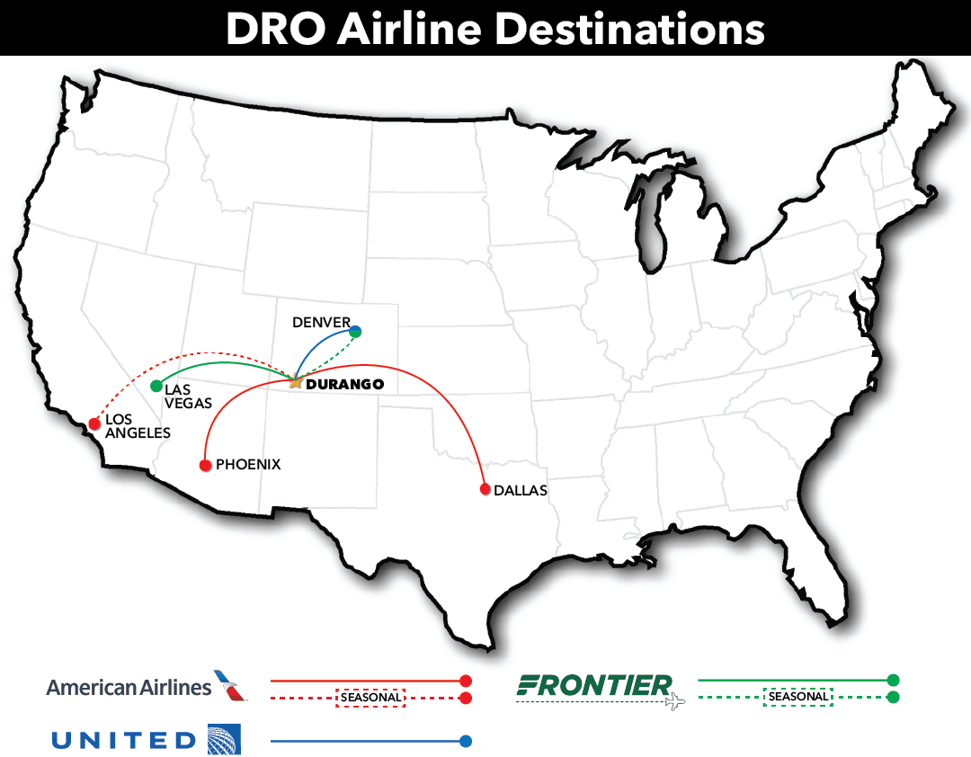 DRO airline destination map - updated April 2021